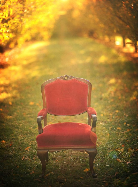 Fall photography, Alice in wonderland, fairy tale, red chair, nursery print,woodland print, fine art photography