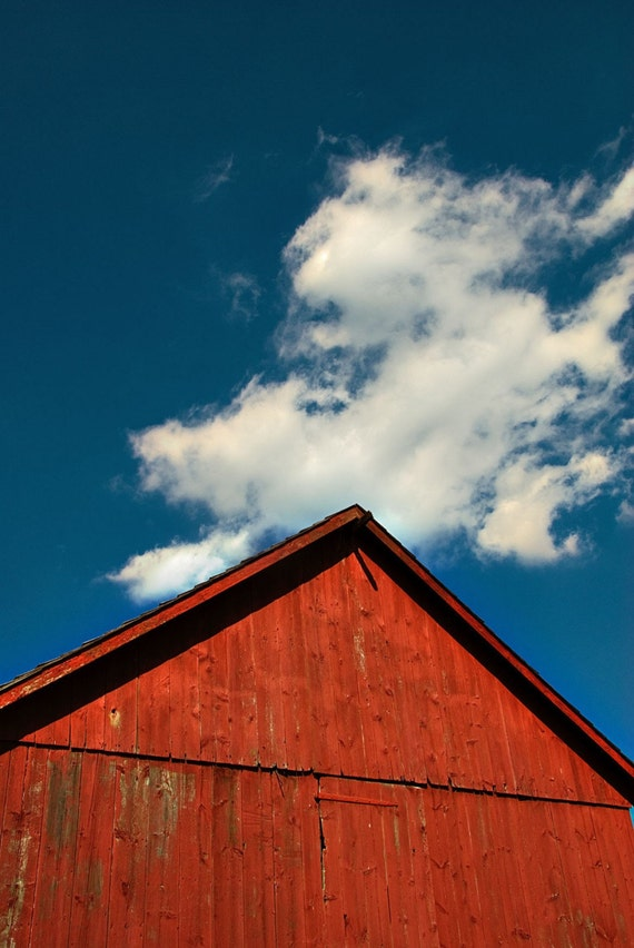 Landscape photography, wall decor, red barn photo, Americana print, blue sky, white clouds, fine art photography, red decor