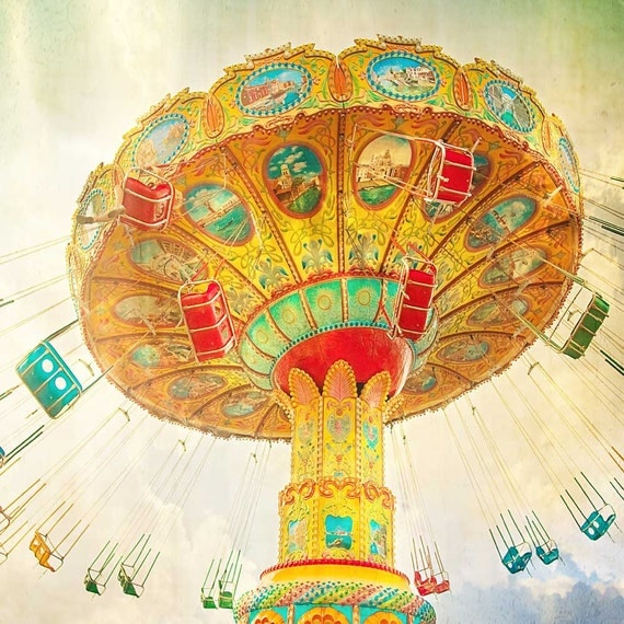 Carnival Photography, Swing Ride Photograph, Fun Art Print, Nursery Wall Art, Colorful Home Decor - Fly High