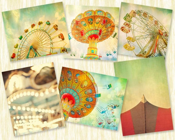Nursery art, children decor, shabby chic, carnival photography, turquoise, color, wall art, for baby's room - Set of six prints 11x14