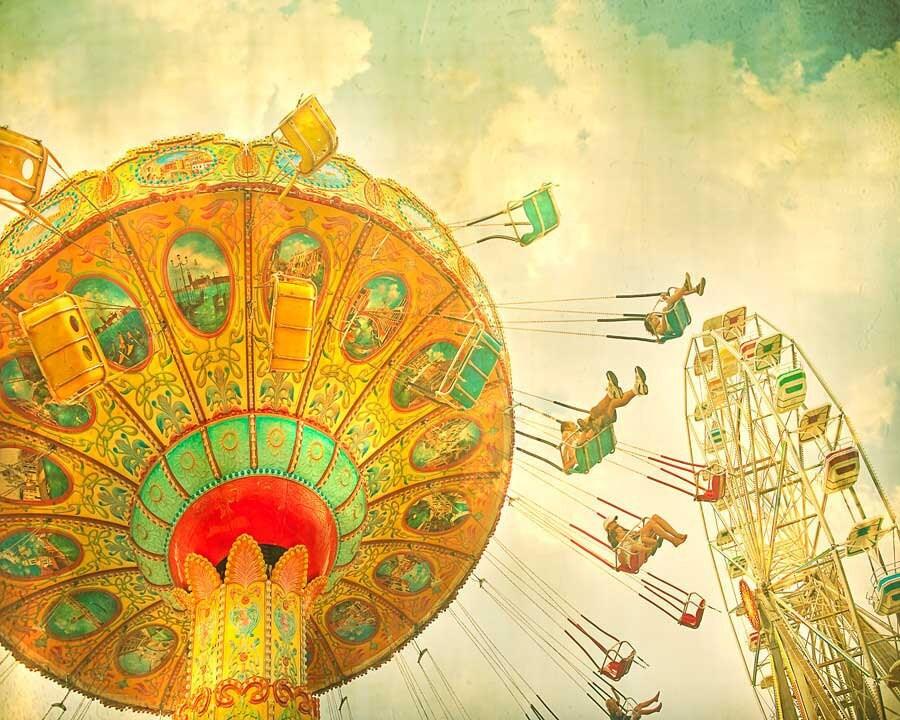 Carnival Photography. Vintage Ferris wheel Art teal green sky
