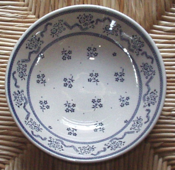RESERVED for Debbie B - Laura Ashley Cereal Bowl Blue Flower Design - Petite Fleur by Johnson Brothers Made in England