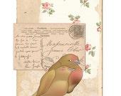 mille baisers - a thousand kisses - cute bird couple vintage french postcard 8x10 print