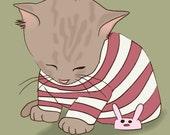 sleepy kitteh 8x10 print kitten in striped pajamas