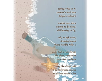 blimp in a bottle 8x10 limited edition print and poem