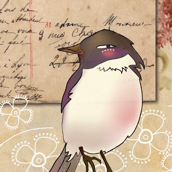 merci mille fois bird vintage postcard 8x10 print