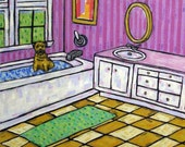 Border Terrier Taking a Bath Dog Art Tile Coaster
