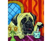 Mastiff at the Coffee Shop Dog Art Print