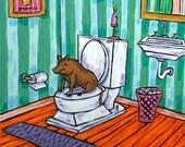 Brown Pig in the Bathroom Art Tile Coaster Gift JSCHMETZ modern abstract folk pop art american ART