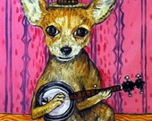 Chihuahua Playing the banjo Dog Art Set of Notecards