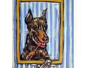 Doberman Brushing Teeth Dog Art PRINT 11x14 dentist  JSCHMETZ modern abstract folk pop art american ART