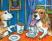 Beagle, beagle art - beagle PRINT on tile - TEa room - tea room decor, modern dog art, folk art, beagle tile, dog tile, dog art