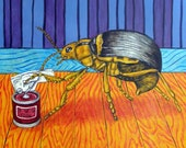 Beetle Opening a Can (Can Opener) Insect Art TIle Coaster