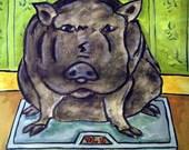 Pig on a Diet Animal Art Tile Coaster