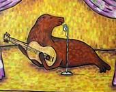 Sea Lion , sea lion art, tile, coaster, gift, modern folk art, pop art, gift, singer songwriter