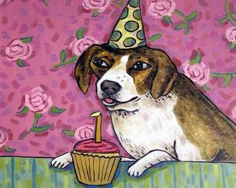 Beagle Birthday Dog Art Tile Coaster