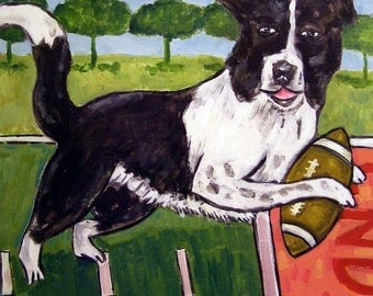 Border Collie Playing Football Dog Art Tile