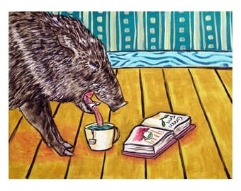 Javelina Reading a Book With Green Tea Art Print