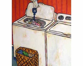 Owl Doing the laundry Art Print