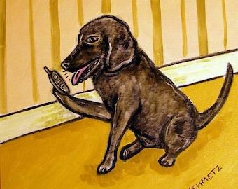 Black Labrador Retriever Talkingon a Cell Phone Dog Art Tile