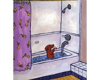 print, dachshund, dog art, dachshund print. bathroom art, bathroom print. modern dog art, gift,