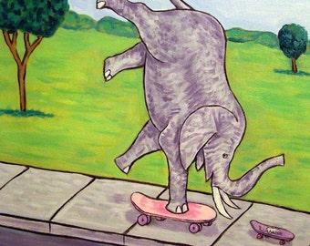 Elephant and Mouse Riding Skateboards Art Tile Coaster