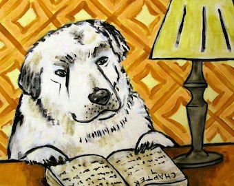 Great Pyrenees Reading Dog Art Tile Coaster