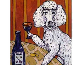Poodle at the Wine Bar Dog Art Print