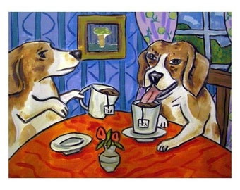 Beagles Having Tea Dog Art Print