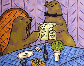 Sea Lion Food Critic Animal Art Tile Coaster