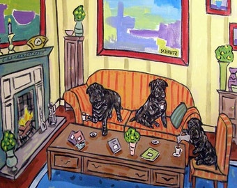 Shar Pei Tea Party Dog Art Tile Coaster