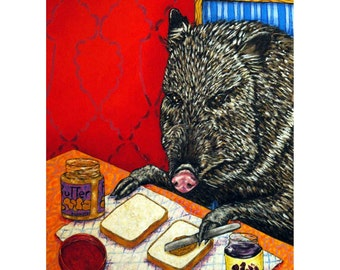 Javelina Making a Peanut Butter and Jelly Sandwich Animal Art Print