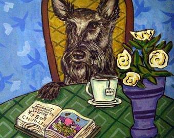 Scottish Terrier art, coffee tile, coffee art, scottish terrier print on tile, ceramic coaster , gift , modern dog art