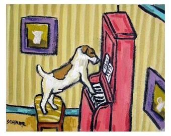 Jack Russell Terrier Playing Piano Dog Art Print