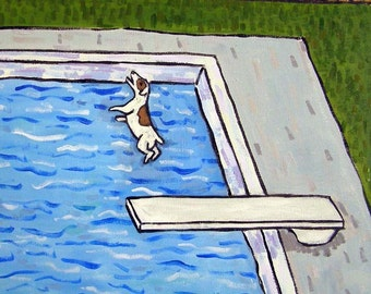 Jack Russell Terrier at the Pool Dog Art TIle