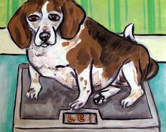 Beagle on a Scale Dog Art Tile Coaster