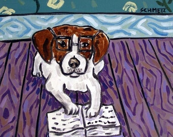 Jack Russell Terrier Reading a Book Dog Art Tile
