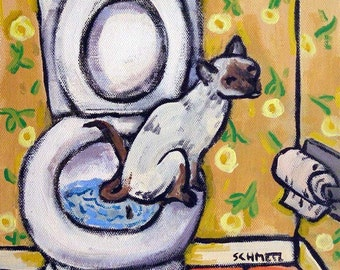 Siamese in the bathroom Cat Art Tile Coaster Gift