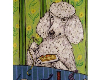 Poodle Doing Needlepoint Dog Art Print