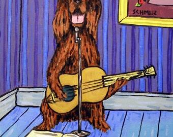 Irish Setter Singer Playing guitar Dog Art Tile Coaster gift