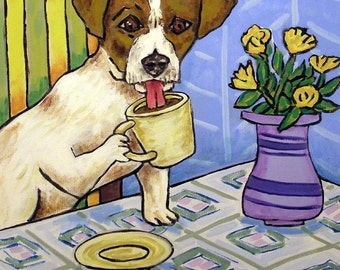 Jack Russell terrier at the Coffee Shop Dog Art Tile Coaster Gift