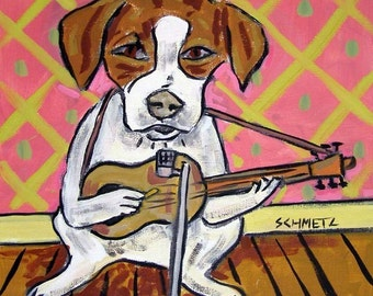 Jack Russell Terrier Playing Guitar Dog Art Tile Coaster