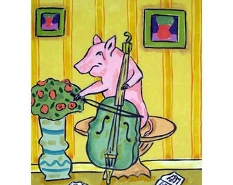 Pink Pig Playing the Cello Animal Art Print