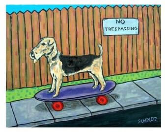 Airedale Terrier Riding a Skateboard Dog Art Print
