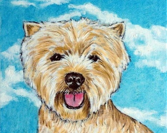 West Highland White Terrier with the Sky Dog Art Tile