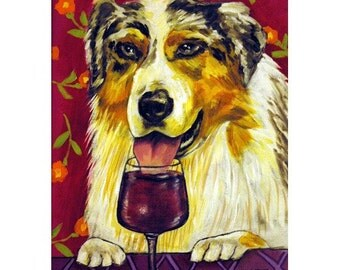 Australian Shepherd , wine art, wine print, dog print, 11x14 art print, australian shepherd print, modern folk art