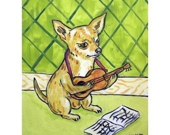 Chihuahua Playing the Guitar Dog Art Print 11x14 JSCHMETZ modern abstract folk pop art american ART