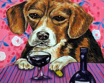 Beagle at the Wine Bar Dog Art Tile coaster gift