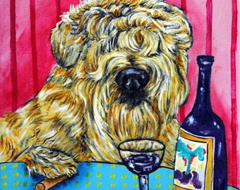 Soft Coated Wheaton Terrier at the Wine Bar Dog Art Tile Coaster one time listing