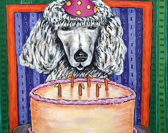 Poodle ,poodle art, TILE, coaster, gift, birthday. modern folk art, dog , dog art